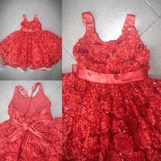 Cute crimson red infant gown(adjustable)