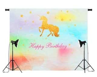 7x5ft Vinyl Birthday Backdrop Rainbow Unicorn Photography Background #90*150cm