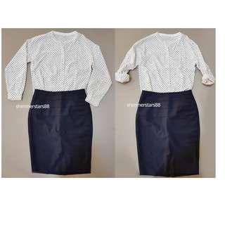 White shirt/blouse with black polka dots RRP$99.95