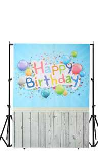 3x5ft Vinyl Birthday Blue Wood Floor Backdrop Photo Photography Background