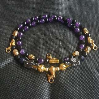 Sold - Nice quality Black Shiny Oxny, Amenthy beads with 2 Black Shiny Dragon Heads & 6 gold plated Buddha Heads 4 Hooks Necklace