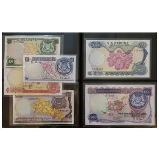 Singapore Orchid Series Dollar Notes, $100, $50, $25, $10, $5, $1