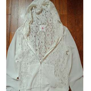 Sheer White Floral Lace Hoodie