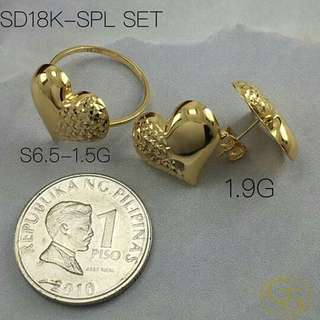 18k saudi gold ring and earring for her