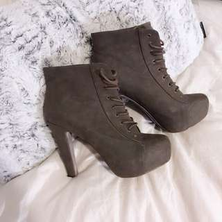 Size 10 - Lace Up Heeled Booties
