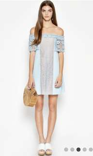 Love & Bravery Lune Off Shoulder Crochet Dress Blue