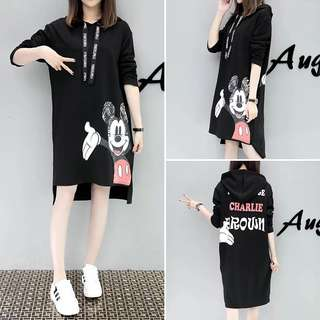 Mickey Mouse Charlie Brown Black Hoodie Dress