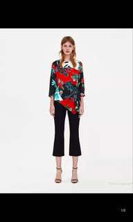 Europe and the United States pleated print blouse shirt