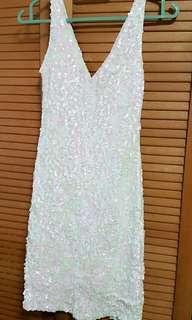 White Jewel Sequins Dress
