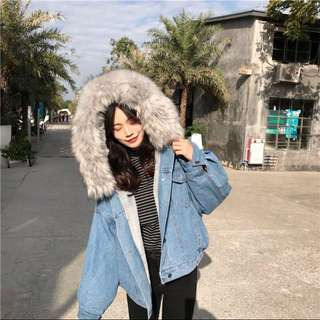 含運❣️韓國灰色內鋪毛牛仔外套