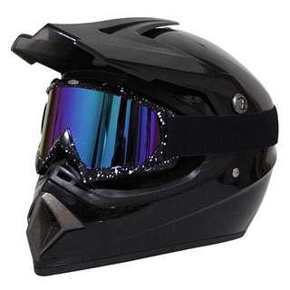 Gloss Black Full Face Motorcycle Helmet Scrambler Motorcross Motocross Scrambler Off Road Dirt Bike