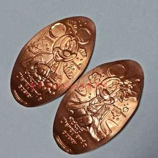 【米奇 米妮 紀念幣 2枚 和服 新年 東京迪士尼】Disney 銅幣 壓印幣 金幣 壓鑄幣 拜年 櫻花 茶道 米老鼠
