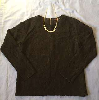 The Black Shop Longsleeve Lace Top