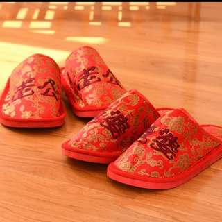 Wedding bedroom SLIPPERS EMBROIDERY traditional   白头偕老
