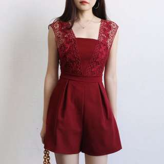 (Red) Lace Crochet Strip Romper