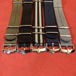 ROLEX & TUDOR Buckle 20mm NATO Strap 錶帶 鋼扣 116610 LN LV 16600 16610 16710 116710 1601 1600 5512 5513 1680 1675 1665 16750  AP omega James Bond 007 尼龍軍用錶帶