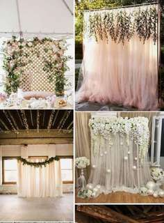 Fairy Lights with Tulle Ribbon / Venue Styling / Decorations with Fresh Flowers