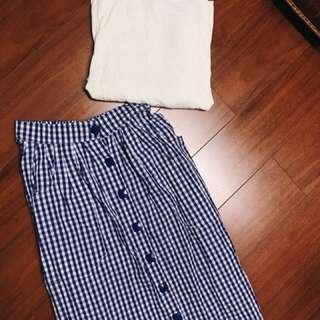 整套賣 藍白格子洋裝 +露背白T