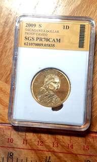2009年美國Liberty Sacagawea 1元 1dollar紀念銅幣 SGS70PRDCAM評級幣一枚 便宜出38