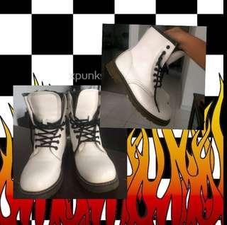 White Doc Marten Inspired Boots 🍒