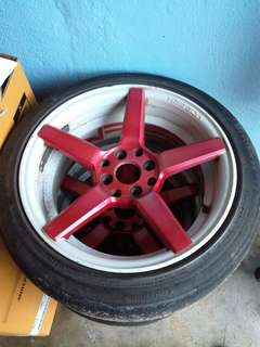 Sportrim vossen cv3 two tone 16 inci 7.5jj red white