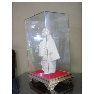 Japanese Doll with A Glass Display (Ht doll 37 cm; display case 45x28x20 cm)