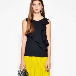 Love and Bravery elrica asymmetrical ruffle top black XS