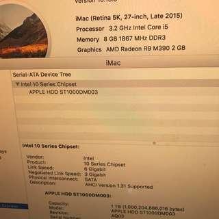 IMAC 27吋 5K Retina 3.2Ghz i5 2015-Late 好新淨 有保養