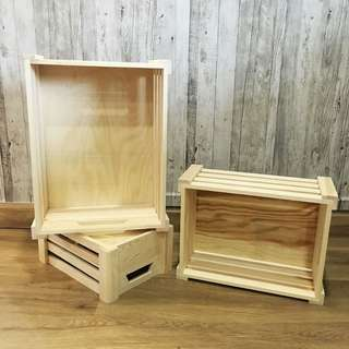RENT: 3 Piece Wooden Crate Set in Pine Shade