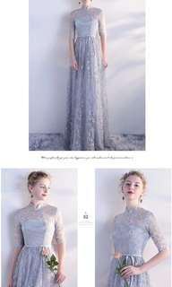 Qipao star design grey dress / evening gown