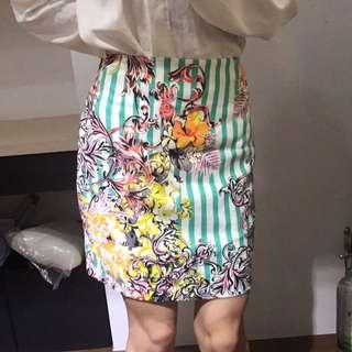 全新正韓-tiffany綠直條紋半身美腿裙