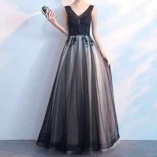 Dual tone black sleeveless dress / Evening Gown