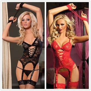 (SALE) Sexy Exotic Lace Body Lingerie (Left With RED Only)