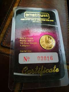 999 Gold Bar 1/4 Dinar