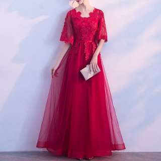 Wine red batwing design Dress / evening gown