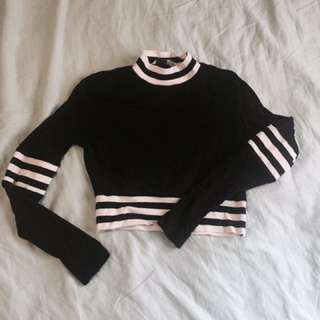 PRICE DROP Tiger mist black/white striped long sleeve crop