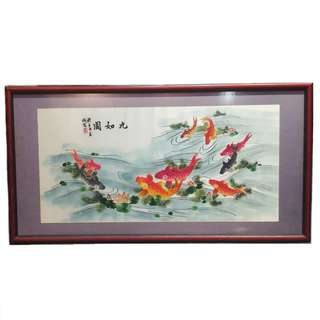 CLEARANCE SALE Framed Embroidery Art - Koi Fish