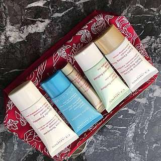 CLARINS: 5 PIECES Gift set Skin care +Cosmetics Bag (Red) Brand NEW