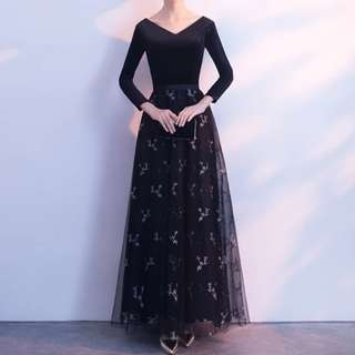 Long sleeve elegant black Dress / evening gown