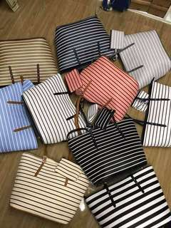 "Annie stripes restock😍😍😍 Size 15"" x 11"" x 5"" high quality synthetic material Retail 600 🇵🇭Gawang Pinoy Garantisadong matibay🇵🇭🇵🇭 👜Great quality best price  👜"