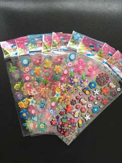 (Bundle of 10 sheets) Flowers stickers-kids stickers-3D stickers