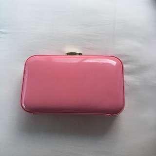 PeepToe pink patent clutch/bag