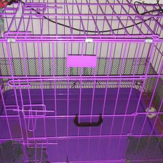 Dog cage folded with to door purple