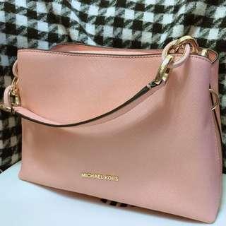 Michael Kors mk 粉紅色 十字紋皮 兩用 手袋 handbag