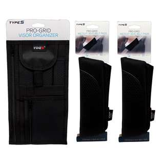 Type S Pro-Grid Visor Organizer and Type S Pro-Grid Wetsuit Seat belt Pads(Black)