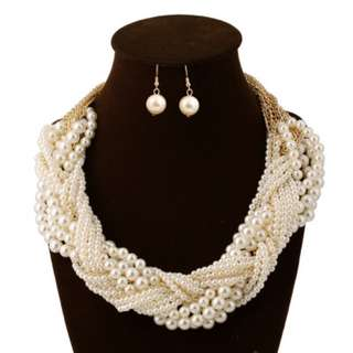 Pearls necklace earrings set costume jewellery
