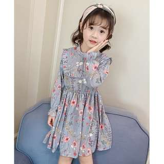 Kids Girls Korean Style Princess Flora Printed Long Sleeves Chiffon Dress