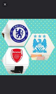 💥In Stock Male Bedroom Dormitory Classroom Decoration Sports Wall Stickers World Cup Soccer Club Chelsea , Arsenal , MCFC $12 Each / $20 Liverpool FC team
