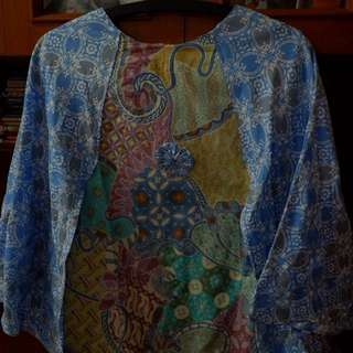 Blue Batik Batwing Top