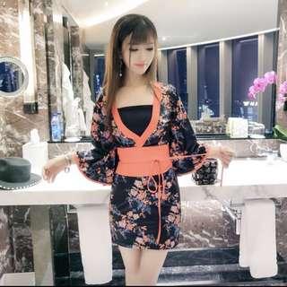 印花性感和服連身裙